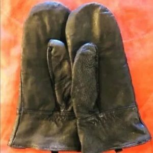 Black Leather Mittens Luxurious Roots Canada Soft